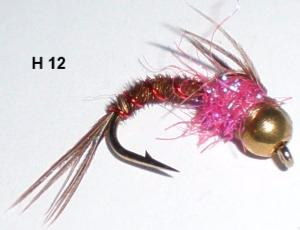 "pheasant tail casquée ""hot belly"" rose (nymphe bille)"