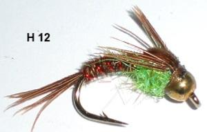 "pheasant tail casquée ""hot belly"" chartreuse (nymphe bille)"